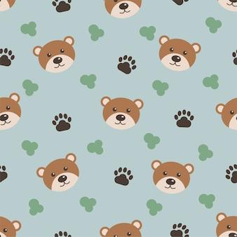 Simpatici animali, orso dei cartoni animati, modello senza soluzione di continuità per i bambini. sfondo per la stampa su abbigliamento per bambini.