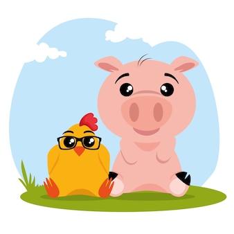 Simpatico cartone animato di animali