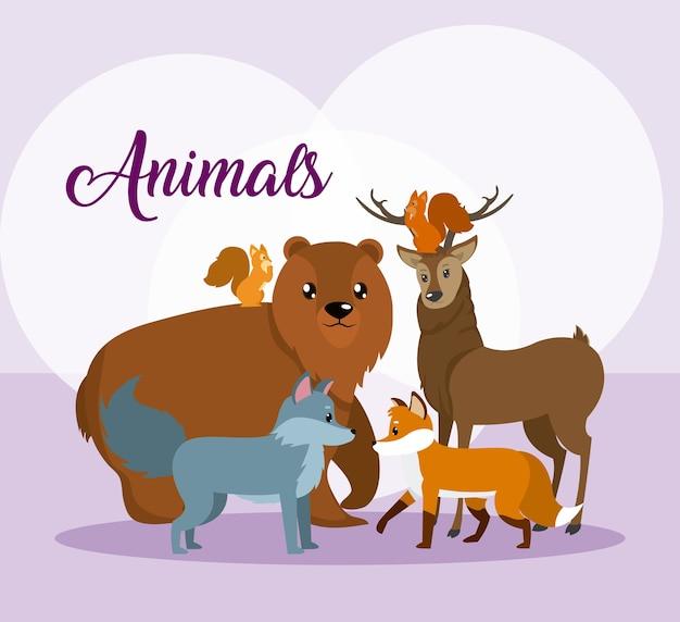 Cartoni animati di simpatici animali su sfondo colorato