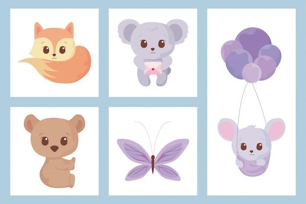 Insieme dell'icona di simpatici cartoni animati animali