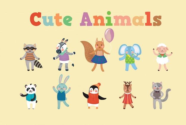 Cute animals for children party Vettore Premium