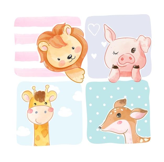 Simpatici animali in cornice colorata illustrazione