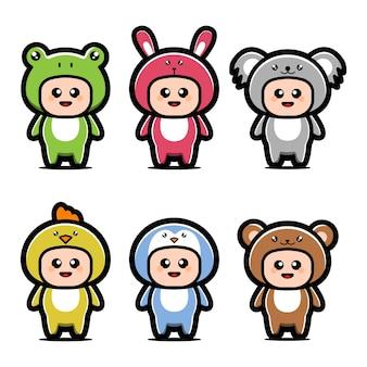 Simpatici animali costume personaggio dei cartoni animati
