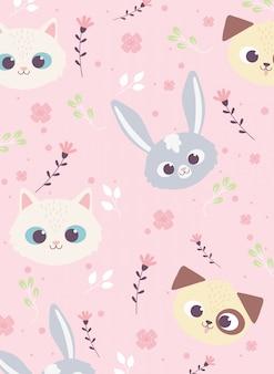 Simpatici animali facce coniglio cane gatto fiori sfondo floreale decoraiton Vettore Premium