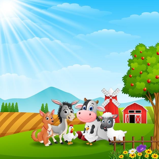 Simpatici animali a sfondo di fattoria