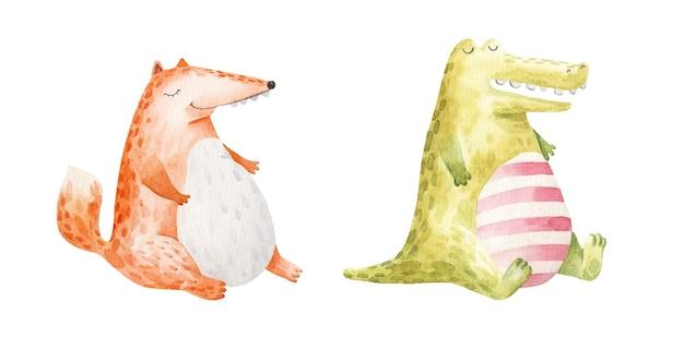 Simpatici animali, volpe grassa e coccodrillo mangiano e si siedono con gli occhi chiusi