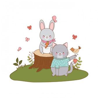 Simpatici animali nei personaggi del bosco