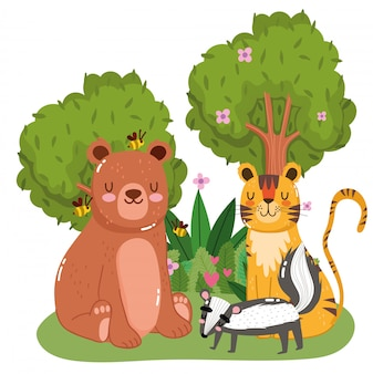 Simpatici animali nella foresta