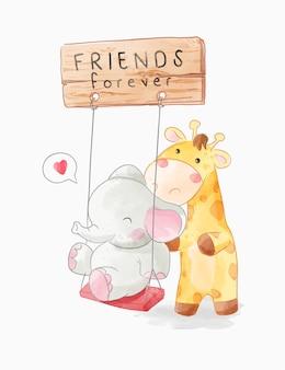 Simpatici animali amici giocano illustrazione altalena