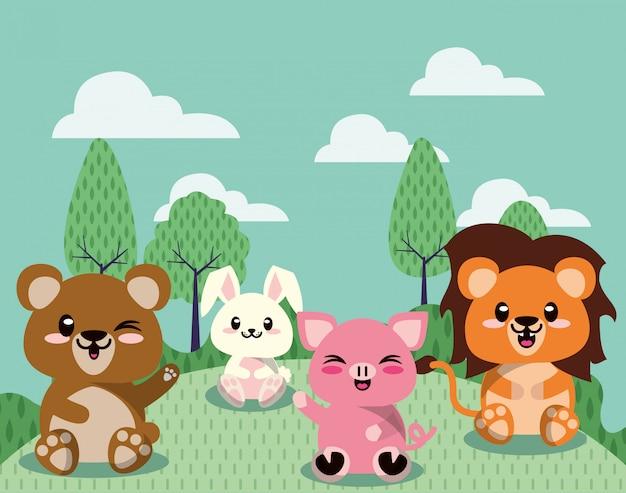 Gruppo di simpatici animali in scena di paesaggio