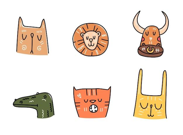 Simpatici animali disegnati a mano in stile semplice per adesivi e design per bambini