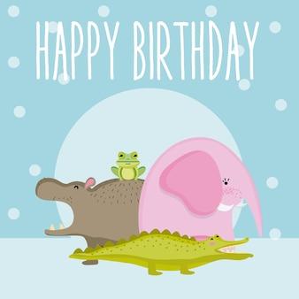 Simpatico cartone animato di simpatici animali felice compleanno carta
