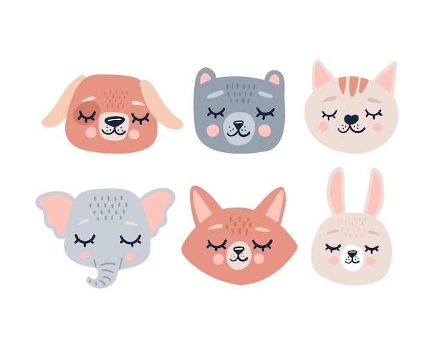 Faccia di teste di simpatici animali con gli occhi chiusi simpatico personaggio divertente cartone animato collezione di stampe per bambini da compagnia