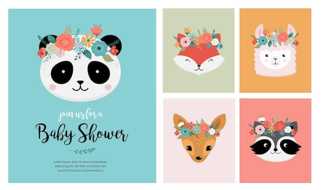 Teste di simpatici animali con corona di fiori, illustrazioni vettoriali per biglietti di auguri di design vivaio. panda, lama, volpe, koala, gatto, cane, procione e coniglio
