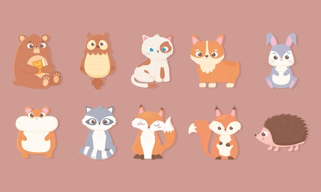 Simpatici animali set di icone con orso coniglio gufo gatto cane criceto volpe procione scoiattolo e riccio illustrazione