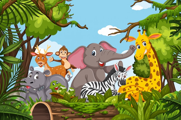 Simpatici animali nella scena della giungla