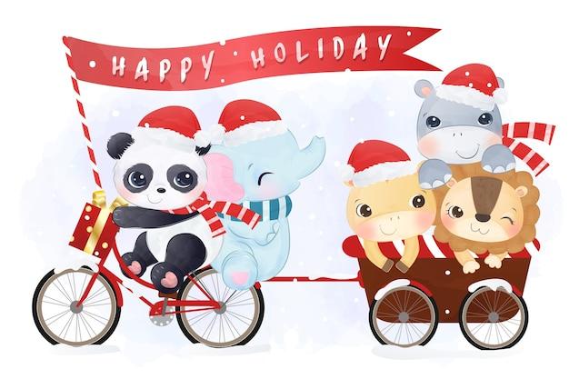 Simpatici animali sfilano per le festività natalizie