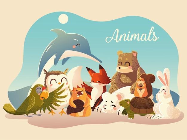 Simpatici animali pappagallo coniglio volpe scoiattolo orso volpe castoro delfino gufo e tartaruga illustrazione vettoriale