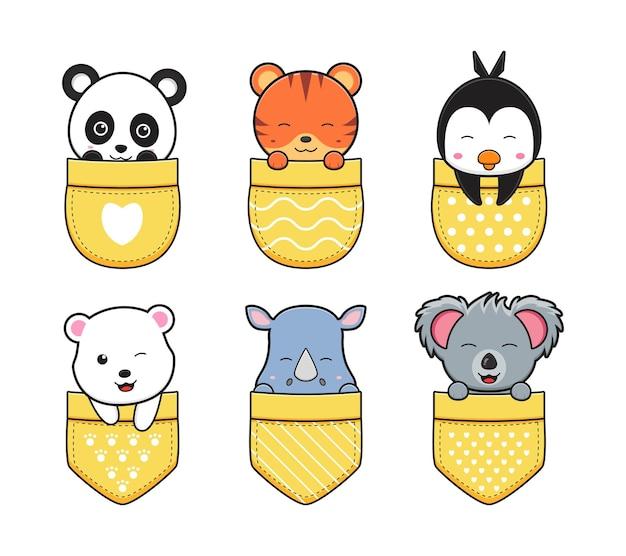 Simpatici animali in tasca doodle fumetto icona illustrazione design piatto stile cartone animato