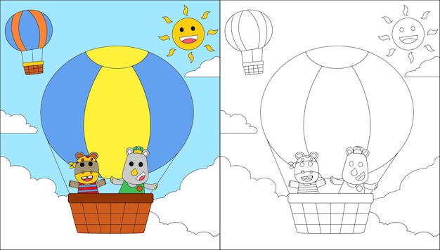 Colora simpatici animali rinoceronte e ippopotamo che volano con mongolfiere nel cielo