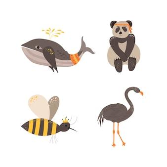 Simpatici animali in stile scandinavo. disegno a mano
