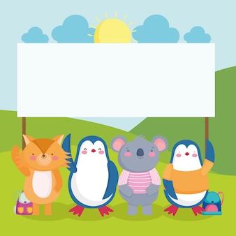 Cartello della scuola di simpatici animali