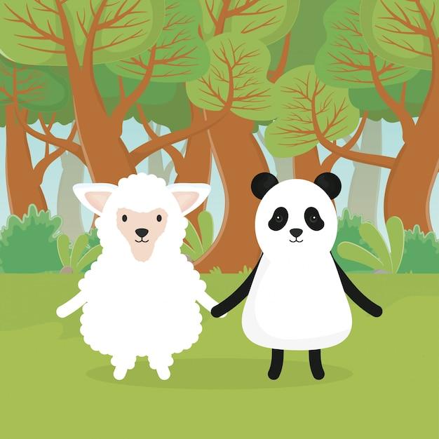 Animali svegli pecore e panda nella foresta Vettore Premium