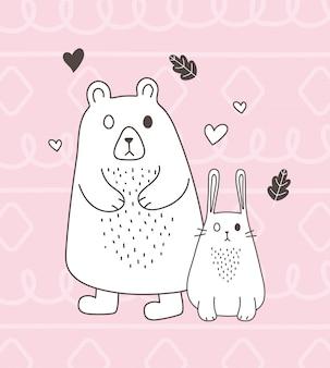Cuori adorabili di amore del coniglio dell'orso del fumetto di schizzo degli animali svegli