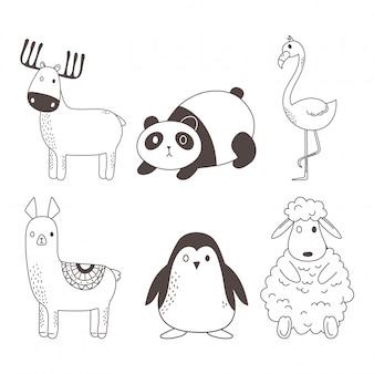 Fumetto sveglio del carattere di schizzo degli animali isolato. cervo, panda, fenicottero, alpaca, pinguino e pecora