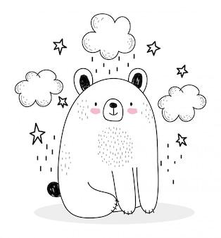Simpatici animali schizzo orso adorabile del fumetto della fauna selvatica con le stelle di nuvole