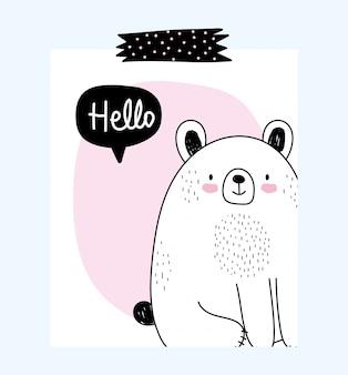 Orso adorabile del fumetto della fauna selvatica di schizzo degli animali svegli con il messaggio di amore