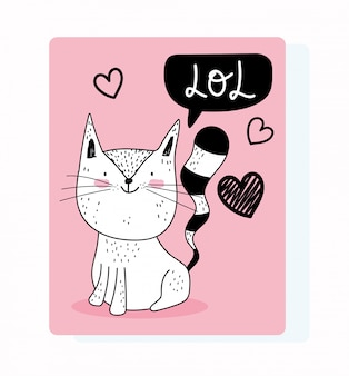 Cuori adorabili di amore felino del gatto adorabile del fumetto della fauna selvatica degli animali svegli