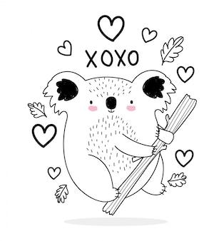 Koala adorabile del fumetto della fauna selvatica di schizzo degli animali svegli nell'illustrazione dei cuori di amore del ramo