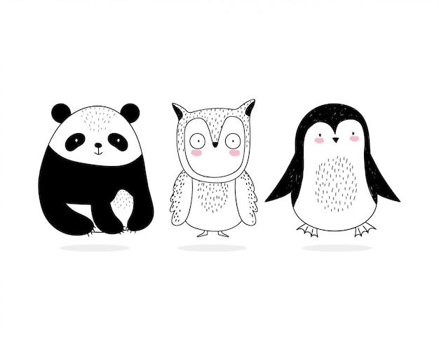 Simpatico gufo e pinguino adorabili del panda del fumetto della fauna selvatica di schizzo degli animali