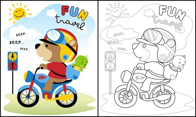 Simpatici animali viaggiano cartoon con moto