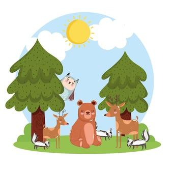 Simpatici animali alberi natura paesaggio