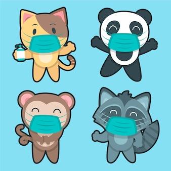 Simpatici animali che indossano maschere per il viso