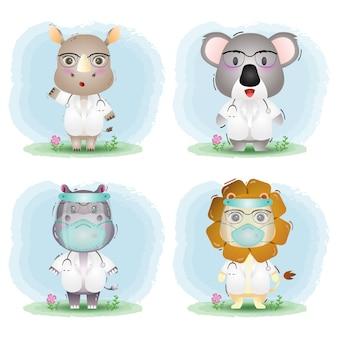 Simpatici animali con collezione di costumi da dottore: rinoceronte, koala, ippopotamo e leone
