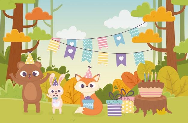 Simpatici animali con illustrazione di felice giorno della foresta della celebrazione della stamina della torta del regalo del regalo dei cappelli del partito