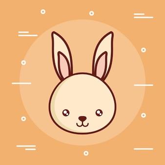 Simpatici animali con icona di coniglio su sfondo giallo