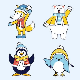 Simpatici animali con l'illustrazione della raccolta dell'attrezzatura della neve