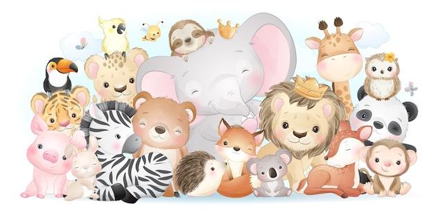 Simpatici animali con collezione di acquerelli