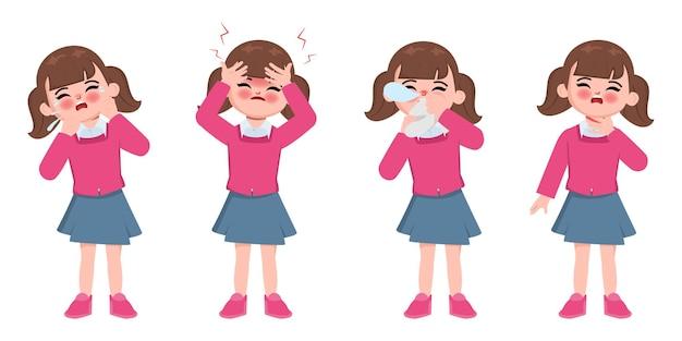 Simpatici bambini di animazione malati di carattere sintomo di disagio