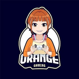 Ragazza carina anime gamer con logo mascotte personaggio dei cartoni animati joystick