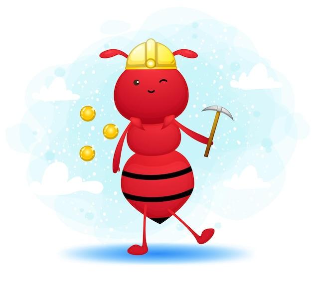 Formica carina come personaggio dei cartoni animati di minatore