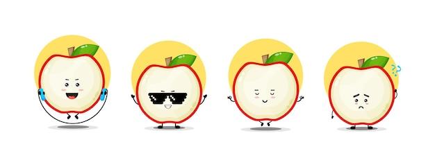 Collezione di simpatici personaggi di mele