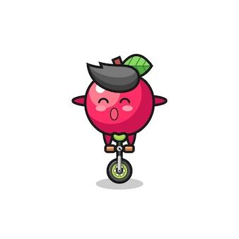 Il simpatico personaggio della mela sta cavalcando una bici da circo, un design in stile carino per maglietta, adesivo, elemento logo