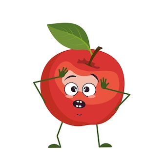 Simpatico personaggio di mela con emozioni in preda al panico afferra la testa, il viso, le braccia e le gambe. l'eroe divertente o triste, frutta rossa. illustrazione piatta vettoriale