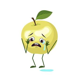 Simpatici personaggi di mele con emozioni di pianto e lacrime, viso, braccia e gambe. l'eroe divertente o triste, frutta verde. illustrazione piatta vettoriale