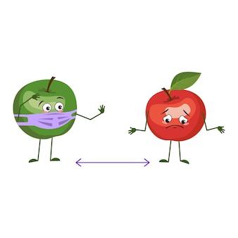 Simpatici personaggi di mele con viso e maschera mantengono le distanze, braccia e gambe. l'eroe divertente o triste, frutti verdi e rossi. illustrazione piatta vettoriale